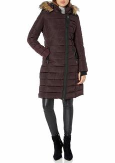 Nanette Lepore Women's Long Asymmetric Puffer Coat with Hood
