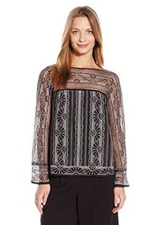 Nanette Lepore Women's Misty Morning Top Black/Ivory X-Small