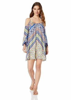 Nanette Lepore Women's Off Shoulder Bell Sleeve Beach Cover Up Tunic  S
