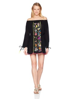 Nanette Lepore Women's Off Shoulder Bell Sleeve Tunic Dress  Extra Small