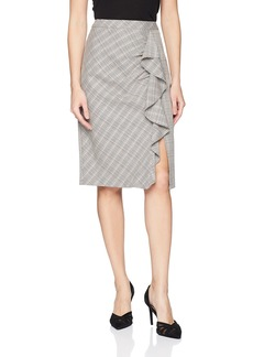 Nanette Lepore Women's Playful Plaid Stretch Ruffle Pencil Skirt
