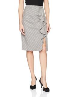 Nanette Lepore Women's Playful Plaid Stretch Ruffle Pencil Skirt