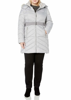 Nanette Lepore Women's Plus Size Belted Puffer Coat with Faux Fur Collar