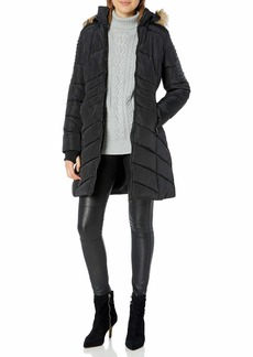 Nanette Lepore Women's Puffer Coat with Faux Leather Details