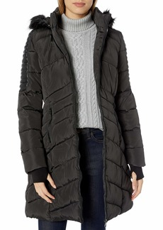 Nanette Lepore Women's Plus Size Puffer Coat with Faux Leather Details
