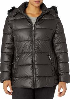 Nanette Lepore Women's Plus Size Puffer Jacket with Faux Leather