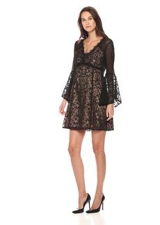 Nanette Lepore Women's Samba Shift Long Sleeve lace and Pindot Dress