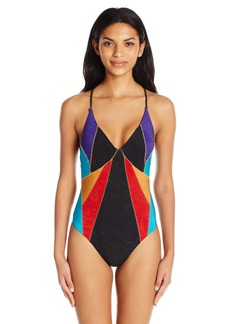Nanette Lepore Women's Serengeti Faux Suede Goddess One Piece Swimsuit  M