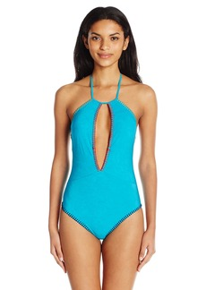Nanette Lepore Women's Serengeti Suede Seductress One Piece Swimsuit  L