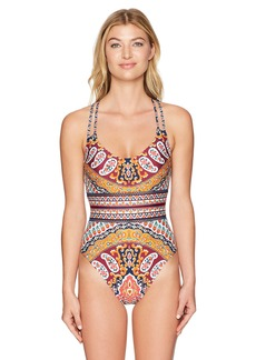 Nanette Lepore Women's Super Fly Paisley Goddess One Piece Swimsuit  L