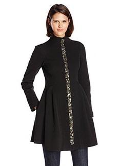 Nanette Lepore Women's Three Ring Embellished Flared Coat