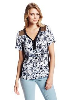 Nanette Lepore Women's Til You Drop Floral Print Short Sleeve Blouse