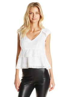 Nanette Lepore Women's Traveler Embroidered Lace Peplum Top