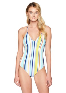 Nanette Lepore Women's V-Neck Strappy Back One Piece Swimsuit