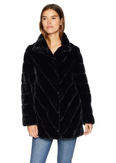 Nanette Lepore Women's Vegan Faux Fur Coat black L