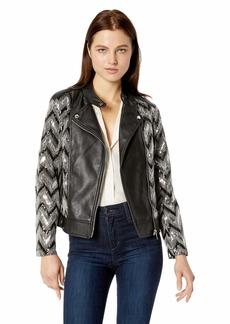 Nanette Lepore Women's Vegan Leather Biker Jacket with Sequins  L
