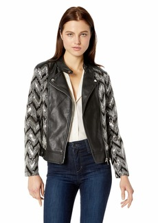 Nanette Lepore Women's Vegan Leather Biker Jacket with Sequins  M