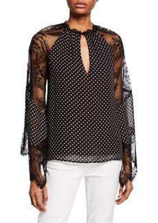 Nanette Lepore Need Me Polka-Dot Lace-Sleeve Keyhole Top