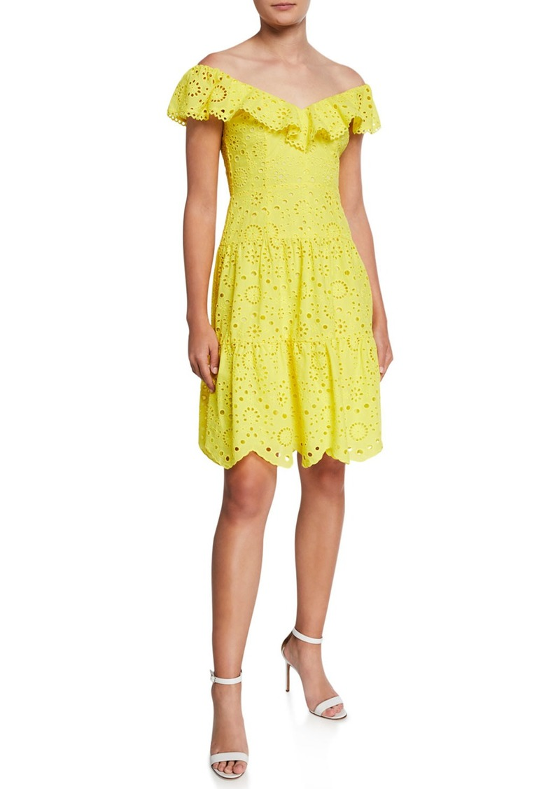 Nanette Lepore Off-the-Shoulder Tiered Eyelet Dress