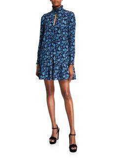 Nanette Lepore Paisley Turtleneck Silk Pintuck Dress