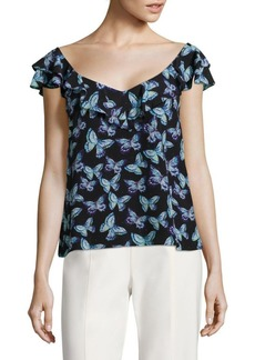 Nanette Lepore Papillon Butterfly Printed Silk Top