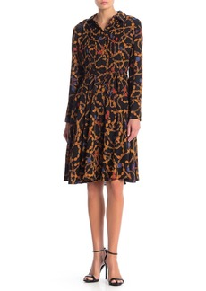 Nanette Lepore Pintuck Long Sleeve A-Line Shirt Dress