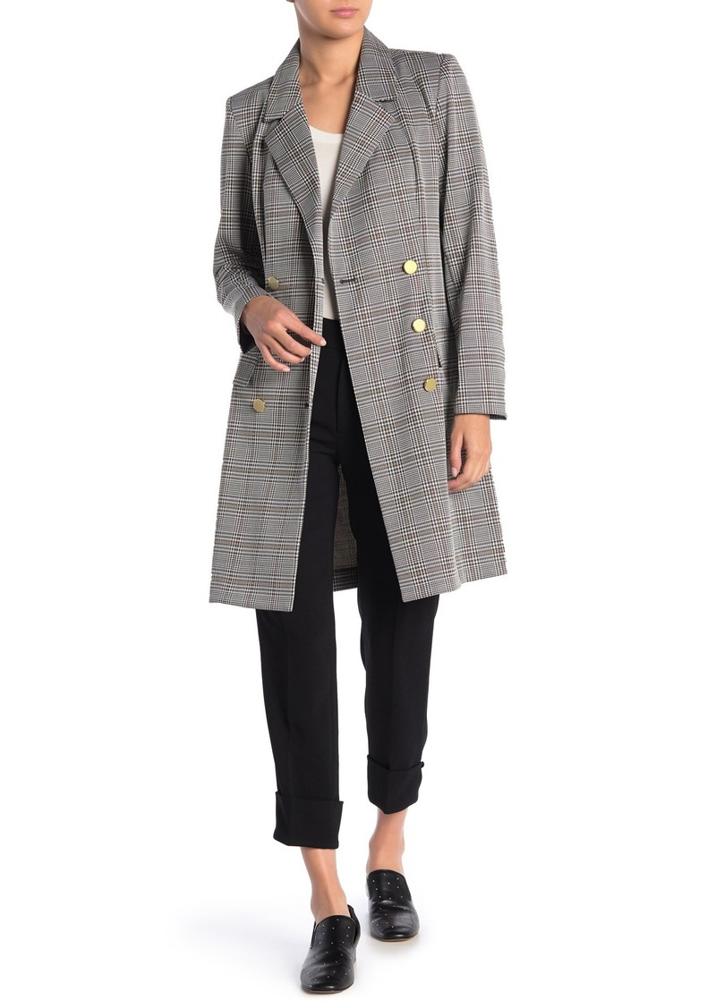 Nanette Lepore Plaid Double Breasted Coat