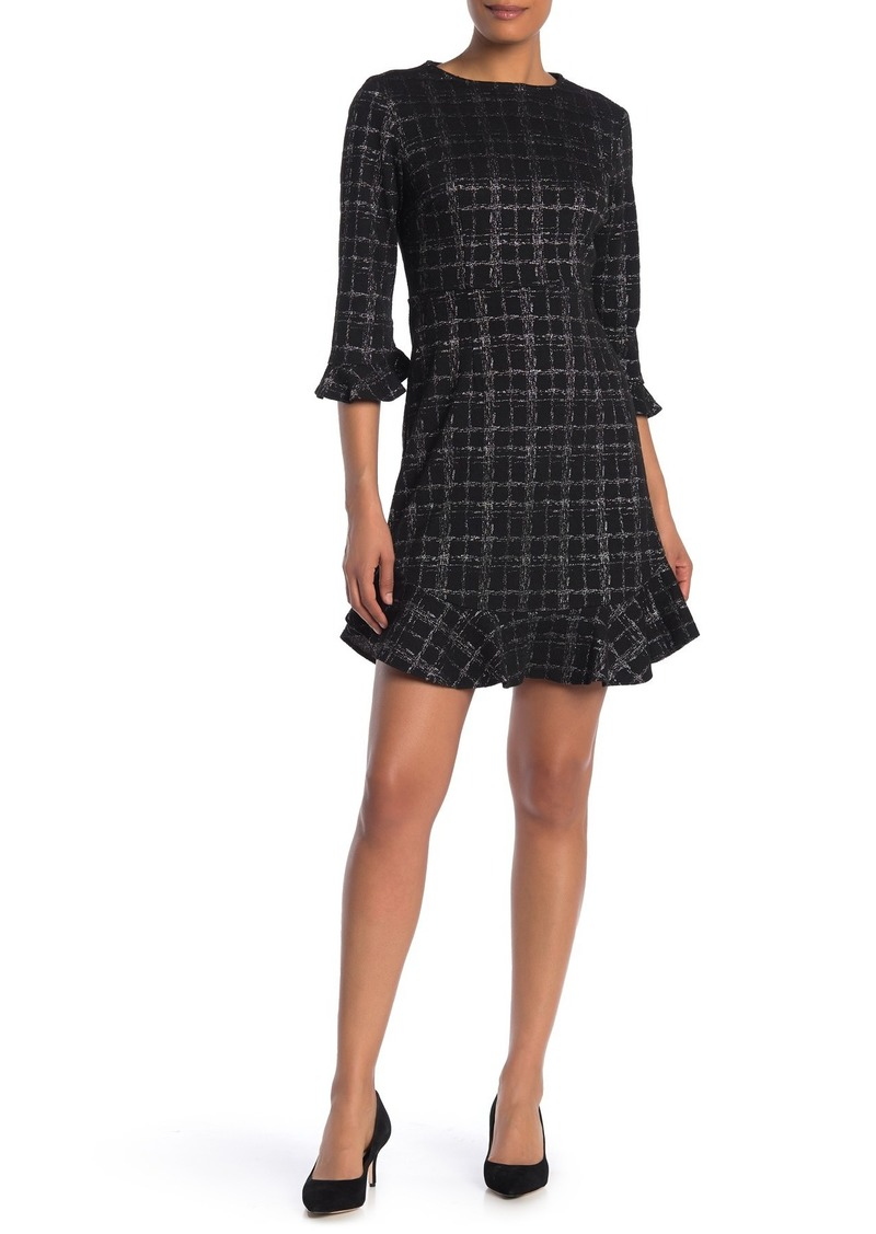 Nanette Lepore Plaid Print Ruffle Trim Dress