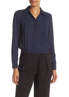 Nanette Lepore Pleated Trim Spread Collar Shirt