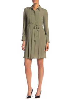Nanette Lepore Pleated Waist Tie Shirt Dress
