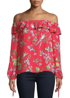 Nanette Lepore Printed Off-The-Shoulder Blouse