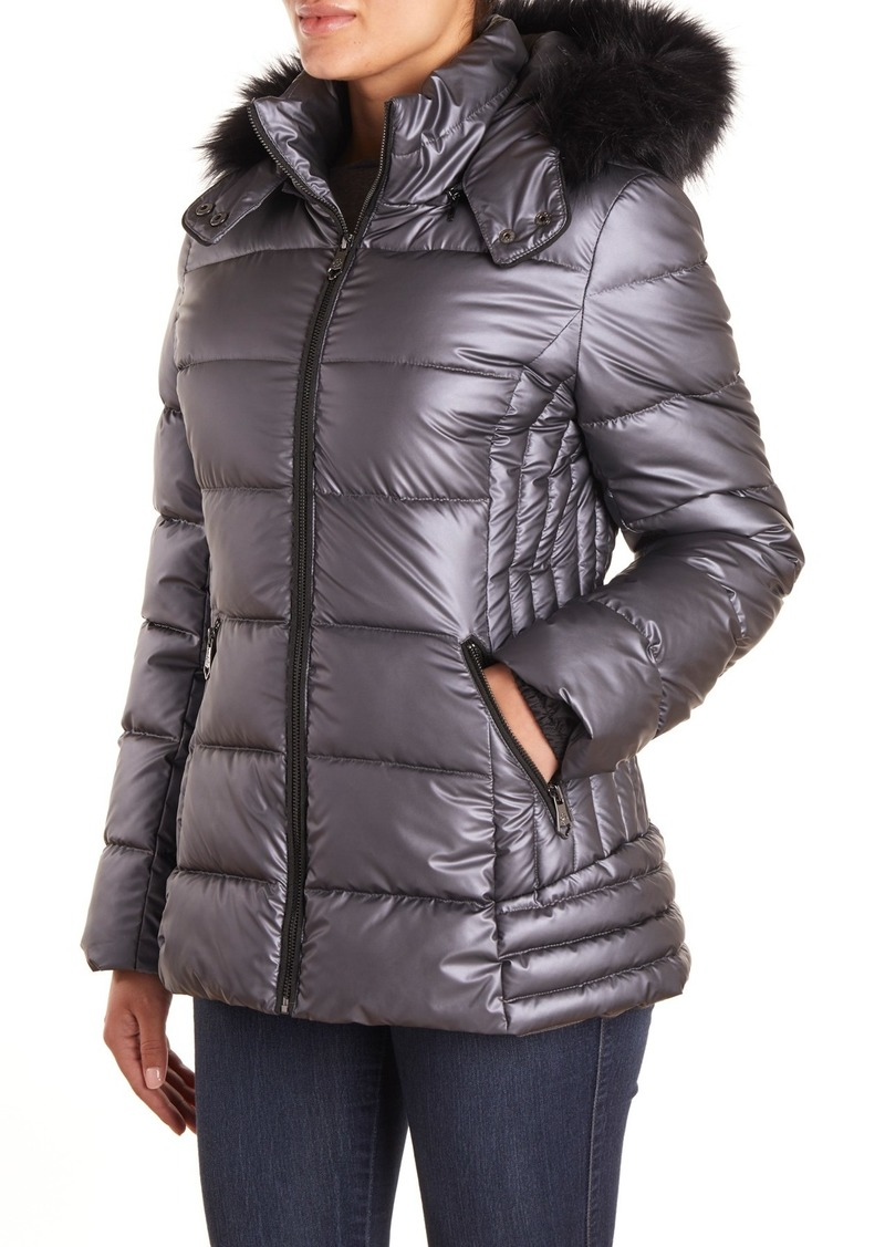 Nanette Lepore Quilted Faux Fur Hood Puffer Jacket