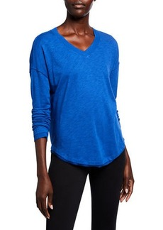 Nanette Lepore Rib Trim V-neck Long-Sleeve  Tee