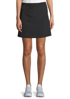 Ribbed-Waist Ruched Skort