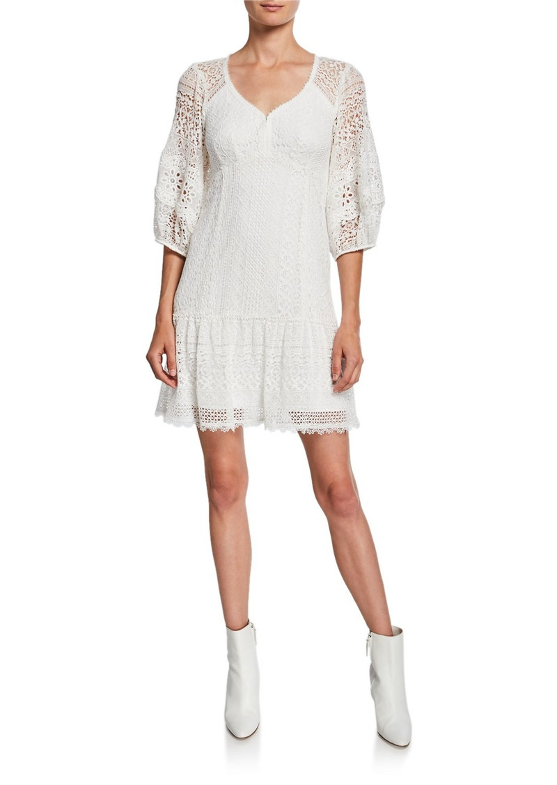 Nanette Lepore Romantic 3/4-Sleeve Lace Dress