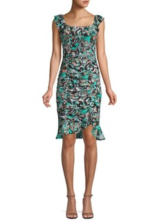 Nanette Lepore Ruched Silk Dress