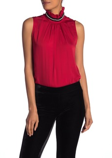 Nanette Lepore Ruffle Mock Neck Sleeveless Blouse