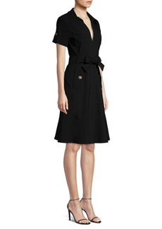 Nanette Lepore Safari Bow A-Line Shirtdress