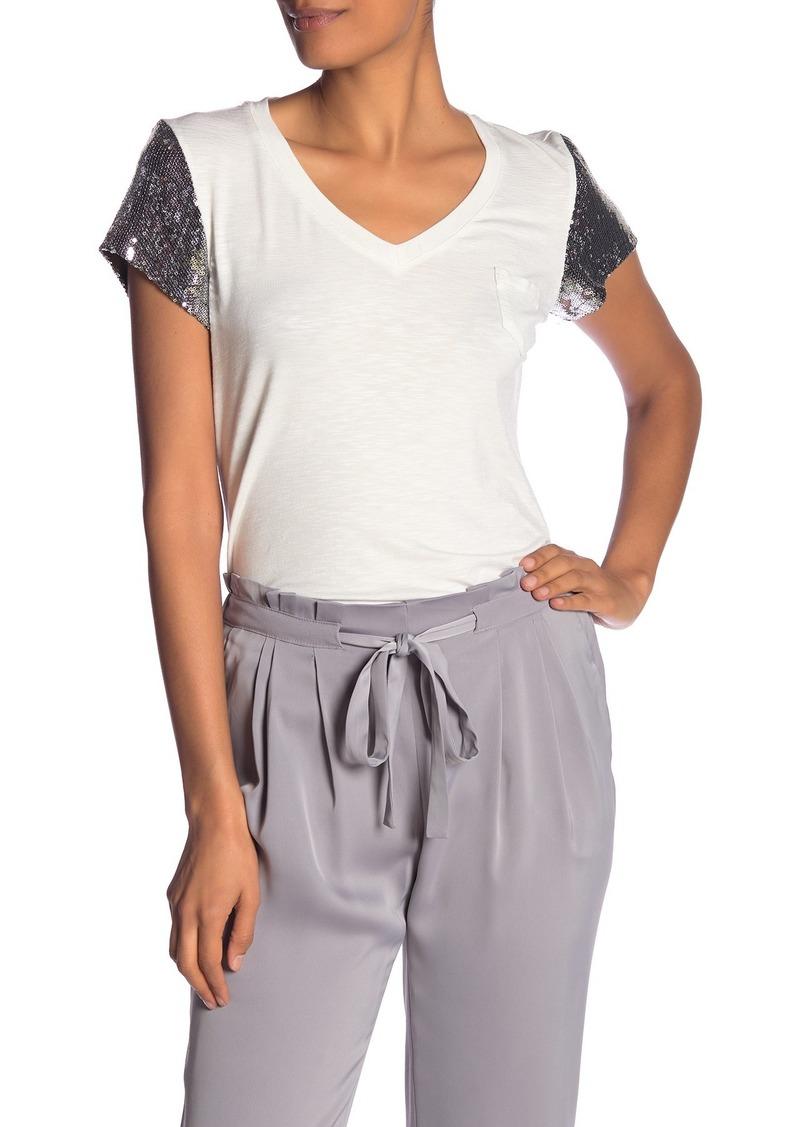 Nanette Lepore V-Neck Sequined Sleeve Top