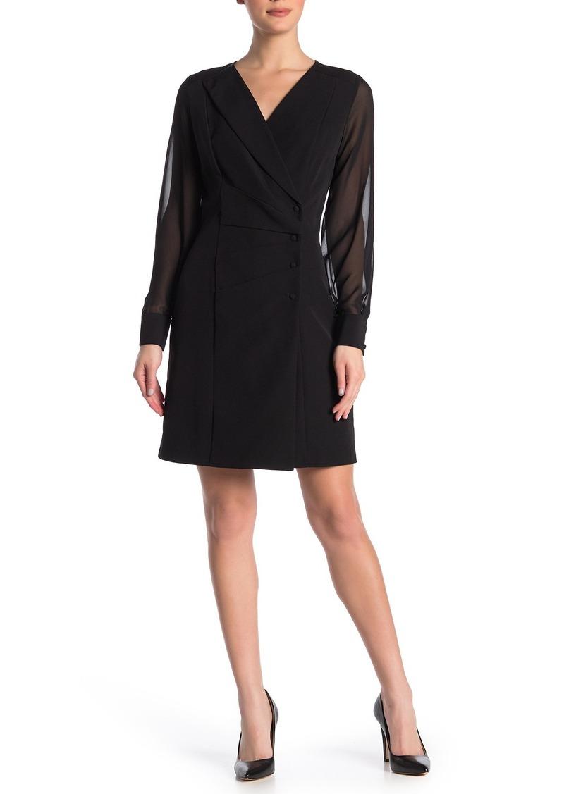 Nanette Lepore Sheer Sleeve Blazer Dress