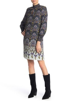 Nanette Lepore Smocked Long Sleeve Print Dress