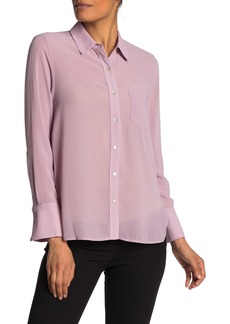 Nanette Lepore Solid Long Sleeve Button Down Shirt