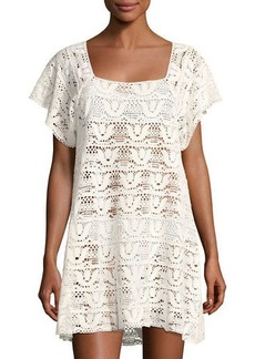 Nanette Lepore Square-Neck Crochet Mini Dress