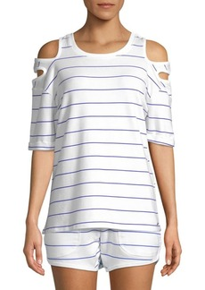 Nanette Lepore Striped Cold-Shoulder Top