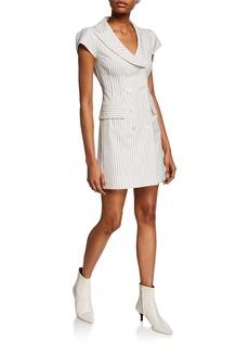Nanette Lepore Striped Double-Breasted Cap-Sleeve Mini Coat Dress