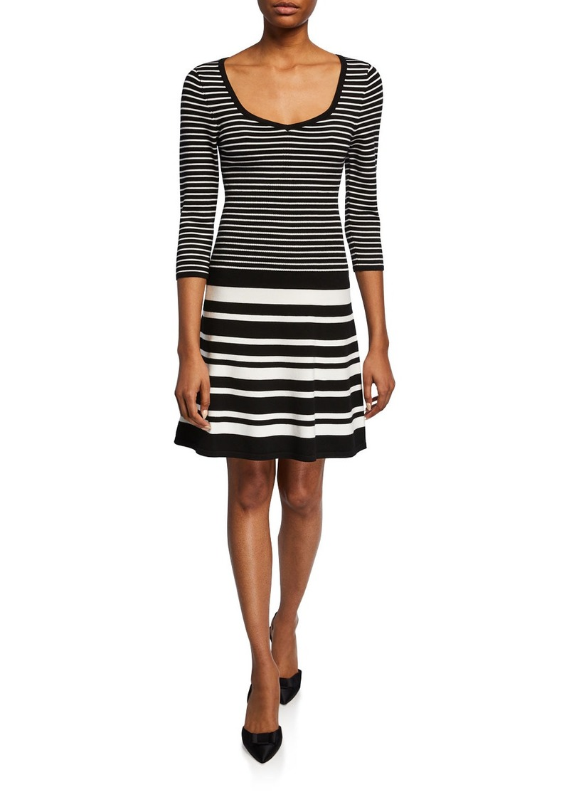Nanette Lepore Striped Scoop-Neck 3/4-Sleeve Sweater Dress
