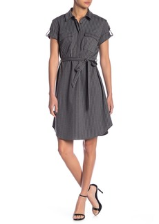 Nanette Lepore Striped Short Sleeve Shirt Dress