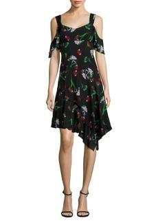 Nanette Lepore Sultry Sunset Cold-Shoulder Sheath Silk Dress