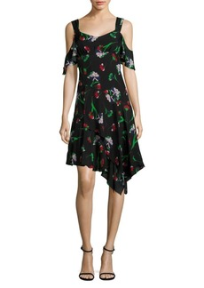 Sultry Sunset Cold-Shoulder Sheath Silk Dress