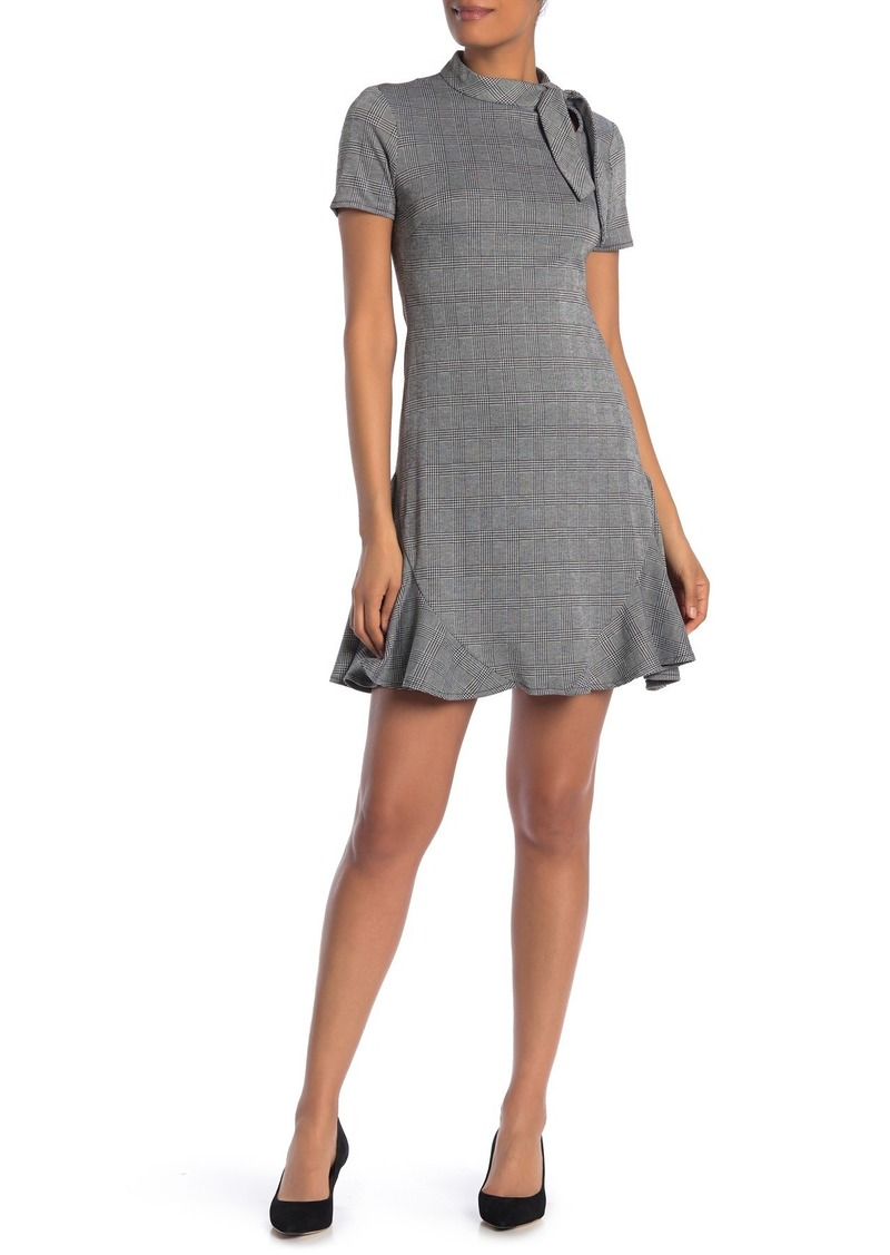 Nanette Lepore Tie Neck Plaid Print Ruffle Hem Dress